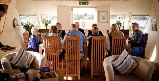 Group enjoying Gourmet Dinner aboard Shannon Princess