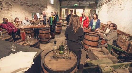 Shannon Princess passengers are tasting Irish whiskey at Kilbeggan Distillery