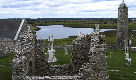 Clonmacnoise monastery with the Shannon River in the background