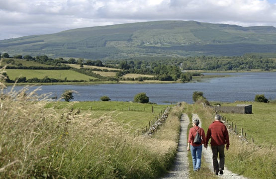 A couple walking in Ireland